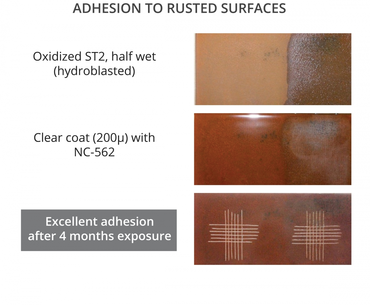 Cardolite phenalkamines give excellent adhesion to rusted surfaces